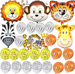 Safari Jungle Zoo Huge Animal Head Balloon Jumbo Balloons Zebra, Tiger, Lions, Giraffe & Monkey with 20pcs 11