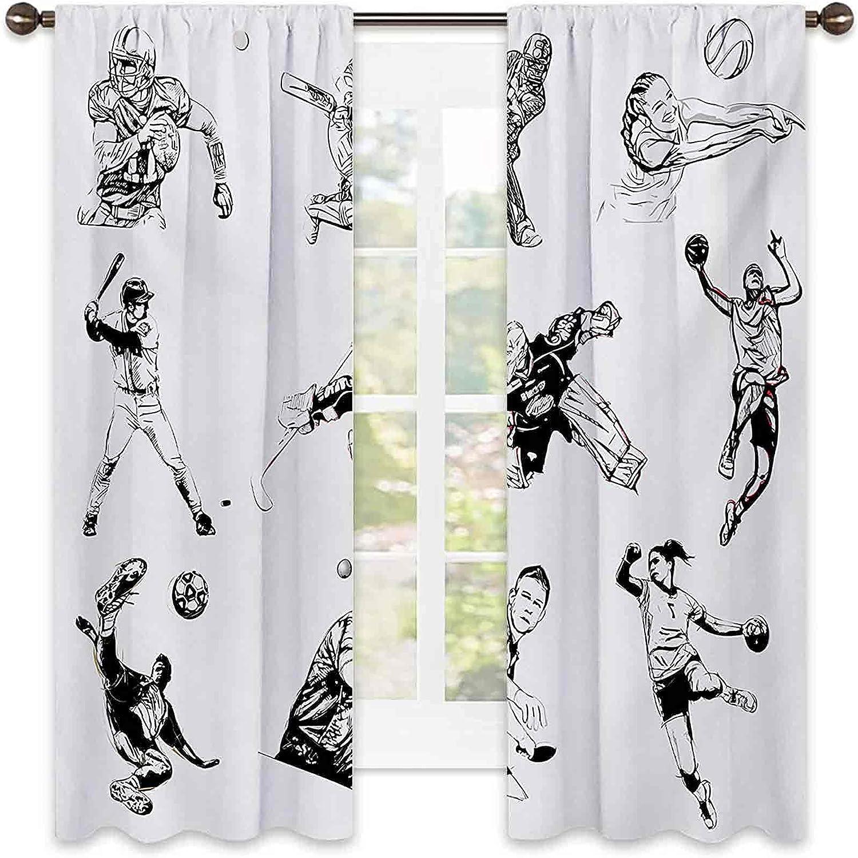Olympics Bedroom Max 55% OFF Rod Pocket Ranking TOP16 Blackout Basketball Curtains Footba
