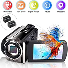 Video Camera Camcorder, Ifmeyasi Digital YouTube Vlogging Camera Recorder Full HD 1080P 15FPS 24MP 16X Digital Zoom Camcorder with Pause Function (2 Batteries Included)