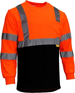 NY BFL8711 High-Visibility Class 3 T Shirt with Moisture Wicking Mesh Birdseye, Black Bottom (Extra Large, Orange)