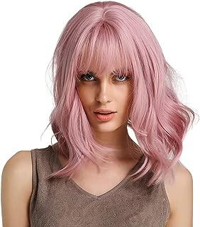 Pink Hair Brazilian Virgin None Lace Front Wigs None Human Glueless Short Bob Wavy Baby for Black Women 12inch