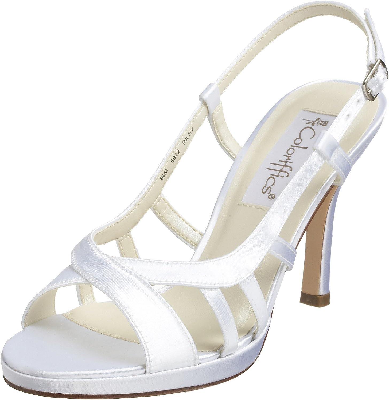coloriffics Women's Riley Platform Slingback Sandal White