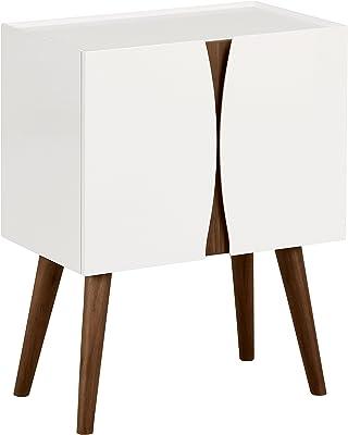 Marque Amazon -Rivet - Meuble de rangement au style moderne, finition vernie et bois, longueur 60cm, Blanc brillant et bois
