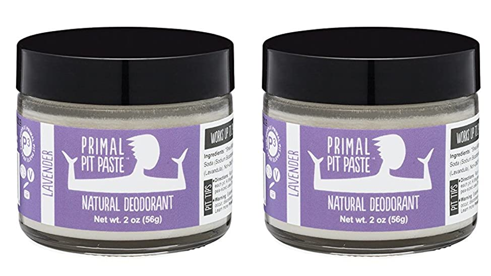 Primal Pit Paste Natural Deodorant Lavender 2 Ounce Jar (Pack Of 2)