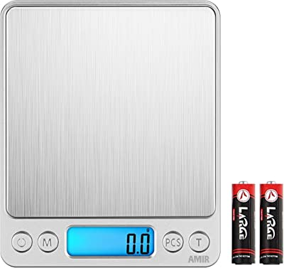 AMIR Báscula Digital para Cocina de Acero Inoxidable, 3kg, 0.1g Bascula Comida Electrónica con 2 Bandejas, Pantalla LCD Retroiluminada, Función De Tara y PCS, para Ingredientes, Joyería, Café [Clase de eficiencia energética A+]