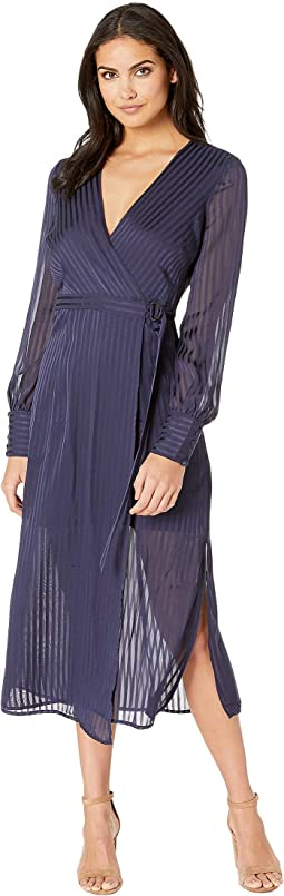 68e554062be Christin michaels tea length 3 4 sleeve wrap dress navy white ...