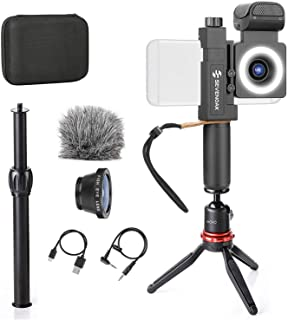 Movo SmartCine Smartphone Video Kit Handheld/Tabletop Bundle - All-in-One Grip Rig, Tripod, Microphone, Light, Lenses - for Vlogging, Makeup, Tutorials, YouTube - Compatible with iPhone and Android