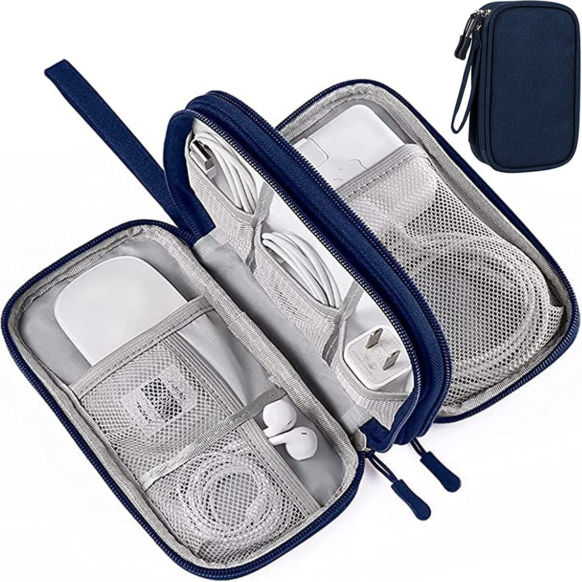 Electronic Organizer Travel Cable Organizer Electronics Accessories Cases,Waterproof Portable Cable Organizer Bag, Travel Gear Carry Bag for Cord, Charger, Flash Drive, Phone, SD Card, Navy Blue