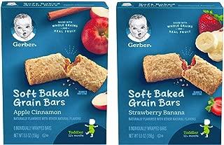 Gerber Graduates Cereal Bars 2 Packs. 1 Box Apple Cinnamon and 1 Box Strawberry Banana 8 Bars in each Box.