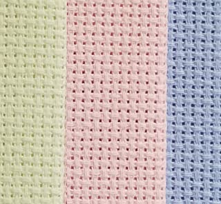 """12"""" x 18"""" by 3 Pack 14CT Counted Cotton Aida Cloth Cross Stitch Fabric (Light Blue+Pink+Light Green)"""