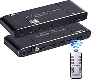 HDMI Switch 4x1 with Optical SPDIF/Coaxial/ 3.5mm L/R Audio Extractor, 4 in 1 Out 4K@60Hz HDMI Switcher Support HDMI 2.0b ...