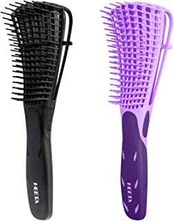 Heeta 2-Pack Detangling Brush, Detangler Brush for Dry and Wet Hair, detangling comb for Afro American Hair 3A to 4C Wavy Kinky Curly Coily Hair for Women and Men (Black & Purple)