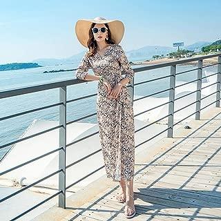 ABDKJAHSDK Summer New Fashion V-Neck Three-Point Sleeve Fashion Leopard Print Women'S Long Dress