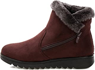 Baqijian Women Winter Shoes Women Ankle Boots The 3 Color Casual Flat Warm Woman Snow Boots