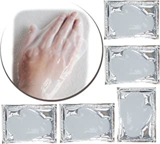 Anti Aging Treatments Set / Kit of 5 Pairs Hands Milk White Collagen Gel Crystal Masks for Intense Hydration / Moisturizing, Firming / Lifting, Smoothing and Wrinkles Removal