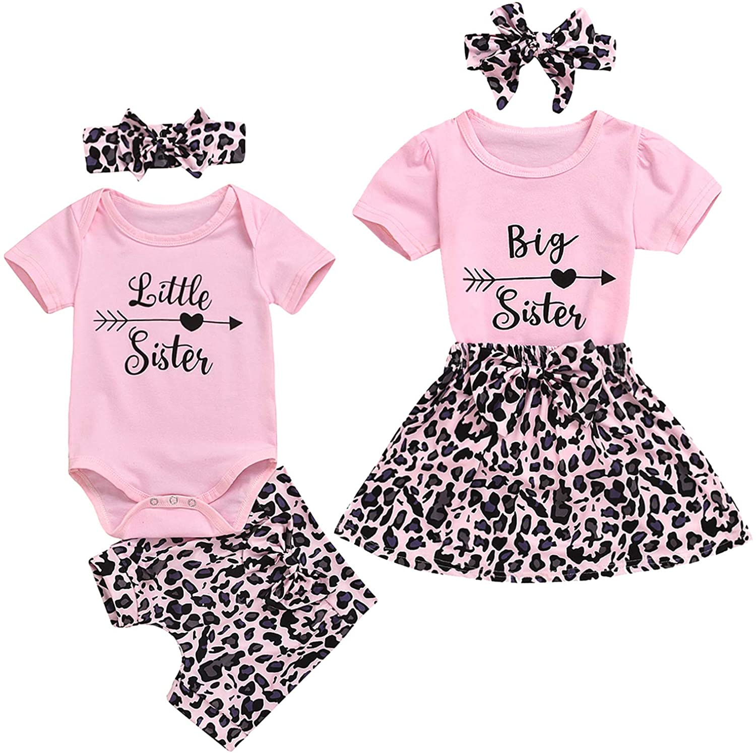 GRNSHTS Baby Girl Sister Matching Clothes Little Sister Short Sleeve Romper+Leopard Shorts+Headband 3Pcs Outfits