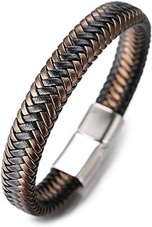 Halukakah ● Jazz ● Men's Genuine Leather Handmade Braid Bracelet Titanium Magnetic Clasp 8.5