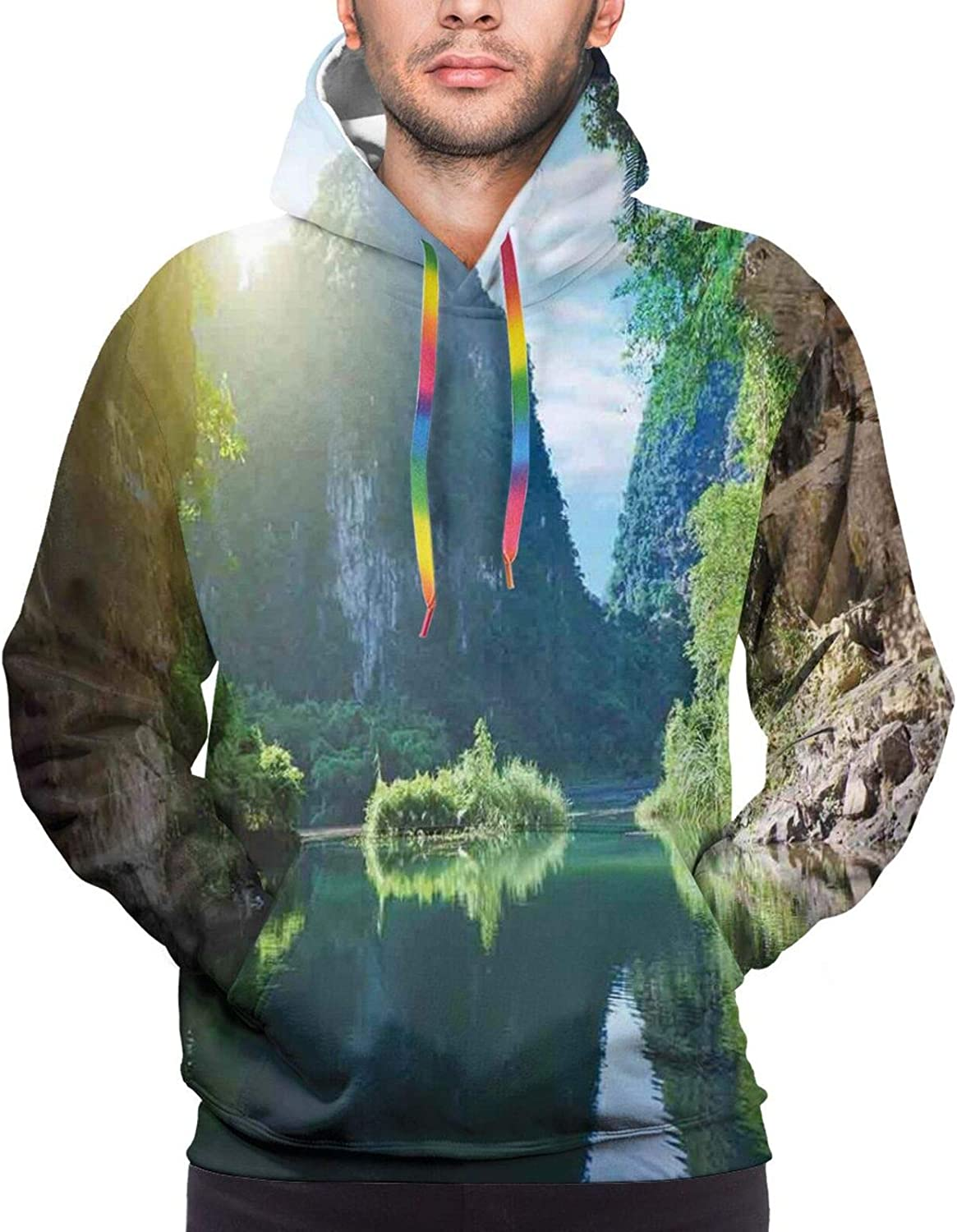 TENJONE Men's Hoodies Sweatshirts,Mountain Scenery with Lonely Pine Tree River and Hills at The Back