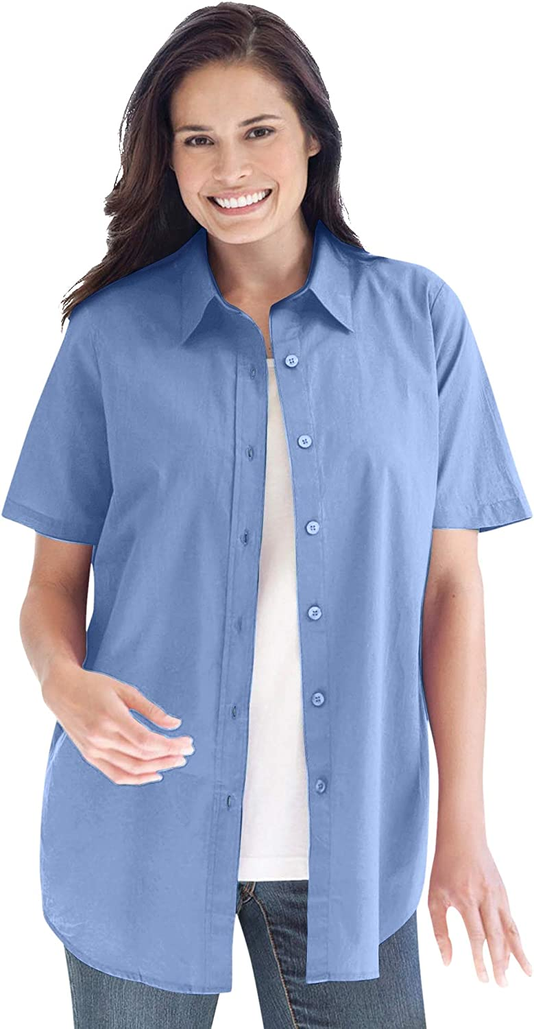 Woman Within Women's Plus Size Perfect Short Sleeve Button Down Shirt
