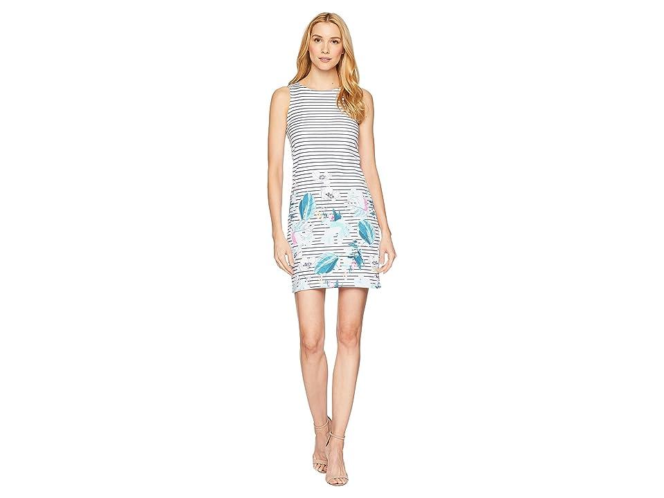 Joules Riva Sleeveless Printed Jersey Dress (Palm Stripe) Women
