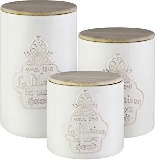 American Atelier 7303-CAN-RB Canister Set 3-Piece Ceramic Jars in Elegant Design w/Wooden Lids for Cookies, Candy, Coffee, Flour, Sugar, Rice, Pasta, Cereal & More, 6.25, 8.25, 10.25