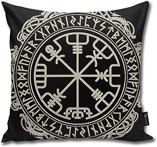Elsaone Fundas de Cojines Decorativos para el hogar de la mitología nórdica de runas vikingas Fundas de Cojines Decorativos para el hogar 18 x 18 Pulgadas / 45 x 45 cm