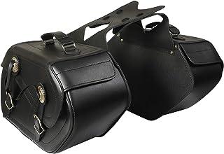 Motorrad Leder SATTELTASCHEN (1 Paar) Gepäcktaschen SATTELTASCHE Chopper ST 001
