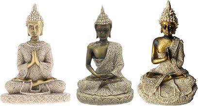3 Pcs Sandstone Ganesha Buddha Statue Sculpture Handmade Figurine Seated Ganesh Buddha Buddhism Statue Buddha Handmade Fig...