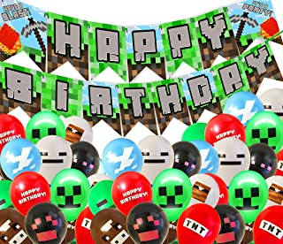 Pixel Party Kit - PRE-STRUNG Happy Birthday Banner - 40 Pixel Balloons - Miner Party Supplies - Miner Party Decorations - ...
