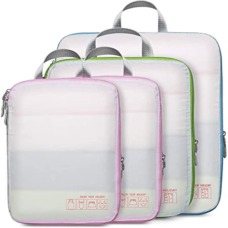 Compression Packing Cubes for Travel, Cambond 4 Pack Luggage Organizers Compression Cubes for Suitcases (White)