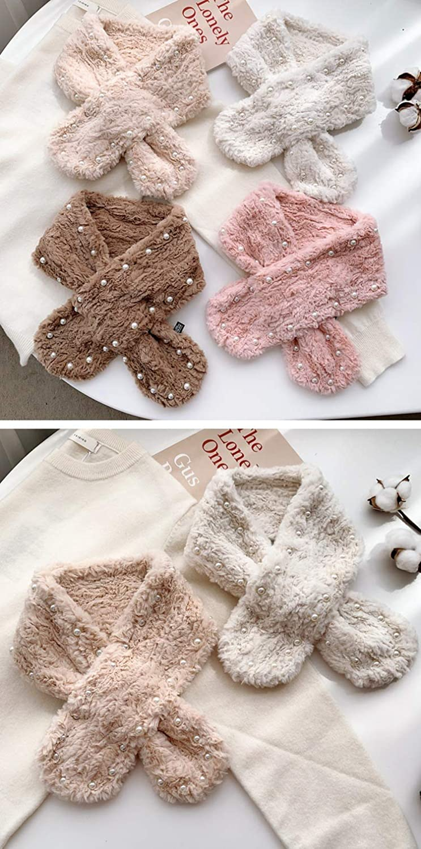 Globalwells Winter Warm Pearl Neck Scarf Foulard Faux Fur Collar Scarfs for Women Neckwarmer