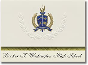 Signature Announcements Booker T. Washington High School (Tulsa, OK) Graduation Announcements, Presidential style, Elite package of 25 with Gold & Blue Metallic Foil seal