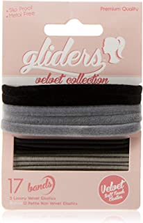 Gliders Velvet Soft Touch Elastic Bands 17 Pieces, Black/Grey