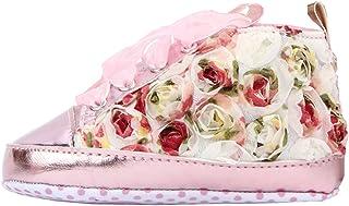 [つきハス] Yuelian(TM) ベビーシューズ 可愛い フラワー レース 付 ファーストシューズ 軽量タイプ スニーカー プリンセス お姫様 子供靴
