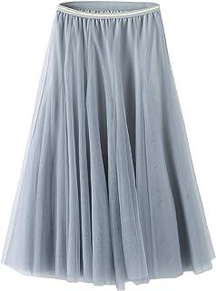تنورة تول للنساء تنانير متوسطة الطول من التول تنورة بطول الركبة على شكل حرف A تنورة عالية الخصر الأميرة تنورة