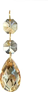 Waner 38mm Teardrop Pendants Chandelier Crystal Prisms Pendants Glass Pendants Beads, Pack of 10 (Champagne)