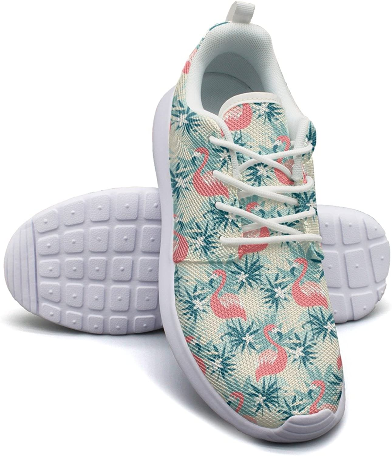 Eoyles gy Flamingo and Tropical Plants Young Women Slip Resistant Lightweight Running Sports shoes