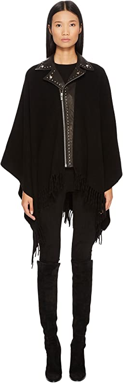 The Kooples - Poncho with Leather Neck