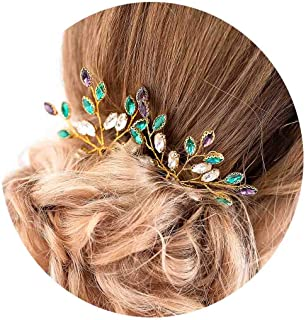 Barode Wedding Hair Pins Green Stone Hair Clips Bridal Sparkly Green Hair Accessories for Brides and Bridesmaids Pack of 3 (Multi)