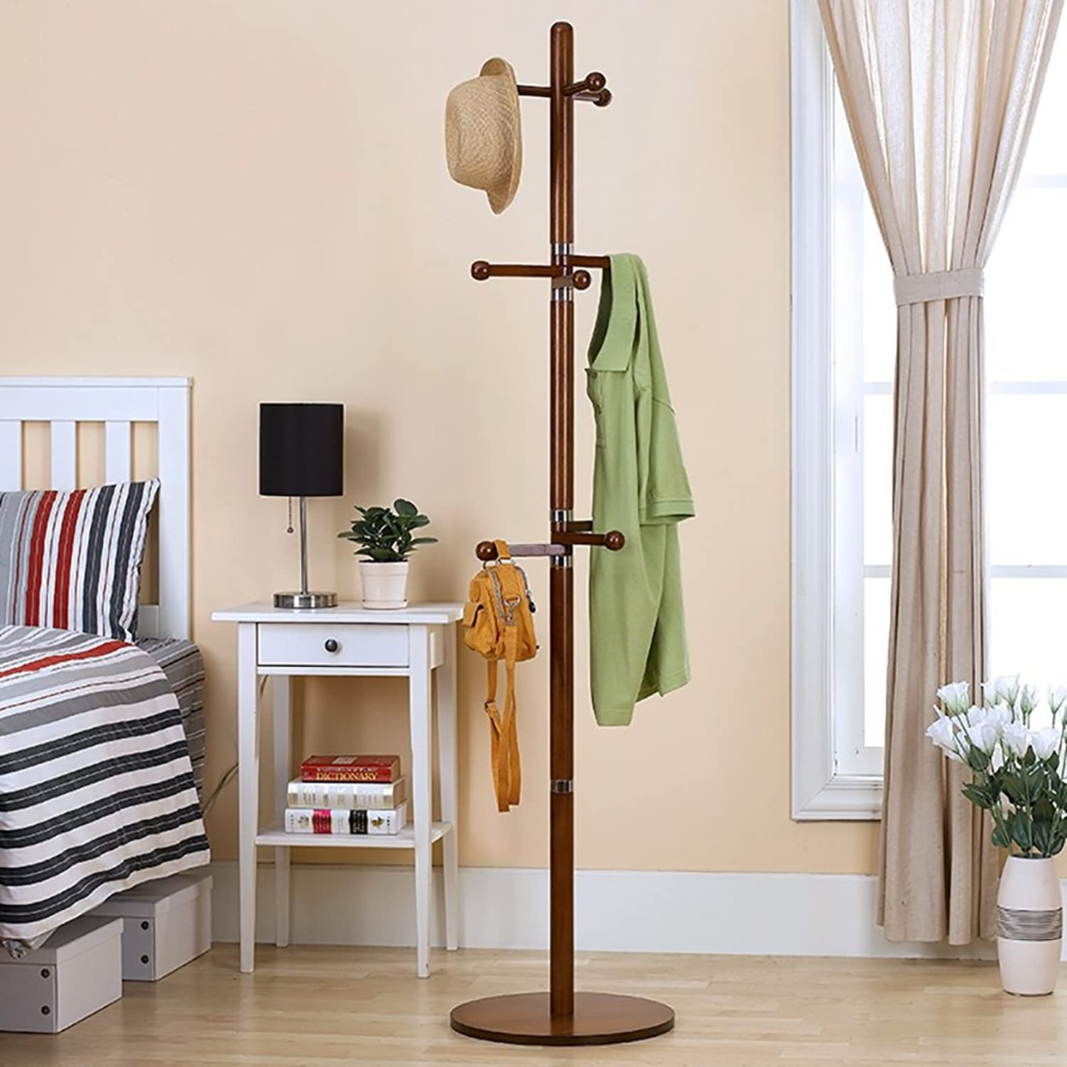 XJRHB Wooden Rack Hanger Hanger Hanger Organizer Wardrobe Closet Home 9 Hook Living Room Corridor Bedroom 175 cm (color   A)