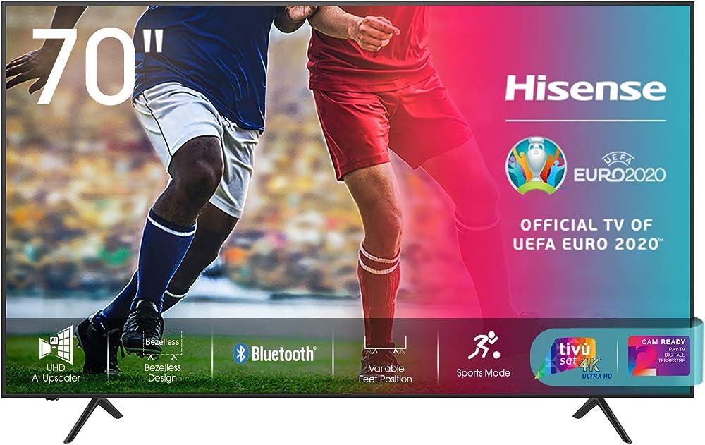 Hisense smart tv 70 pollici led ultra hd 4k , hdr 10+, dolby dts, alexa integrata, 70AE7010F