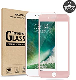 (Pack of 2) Screen Protector for iPhone 7 8, Akwox Full Cover iPhone 7 8 Tempered Glass Screen Protector with ABS Curved Edge Frame, Anti-Fingerprint HD Screen Protector for iPhone 7 8(Rose Gold)
