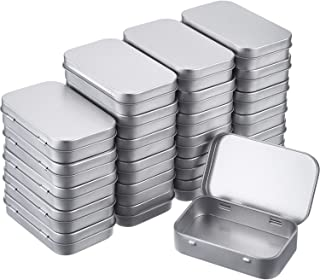 24 Pack 3.75 by 2.45 by 0.8 Inch Silver Metal Rectangular Empty Hinged Tins Box Containers with Lids Mini Portable Box Small Storage Kit, Home Organizer