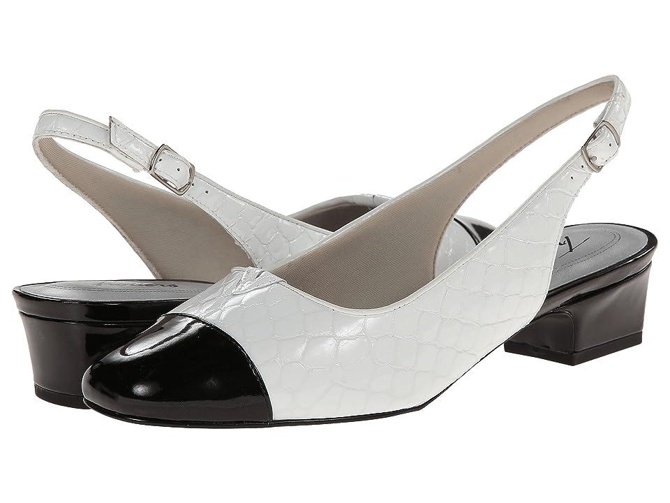 Trotters Dea (White/Black Patent Python Leather) Women