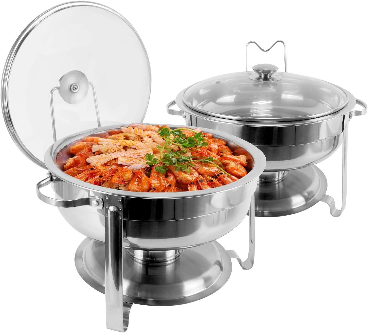 430 Stainless Elegant Steel Chafing Cheap Dish Buffet Round Buffe Quart Set 4