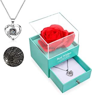 FilmHoo Mothers Day Gifts Preserved Real Rose with Heart Love You 925 Sterling Silver Necklace in 100 Languages Gifts for ...