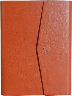 GUAN システム 手帳 A5 ジブン手帳 5ミリ 方眼 ノート リフィル 100枚 6穴 リング PU レザー カバー ビジネス オフィス用品 ペンホルダー カードポケット 付き ブラウン