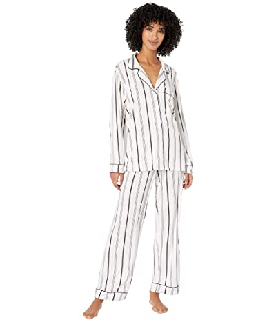 Eberjey Sleep Chic The Long Boxed Pajama Set (Winter Stripes/Navy Heather) Women