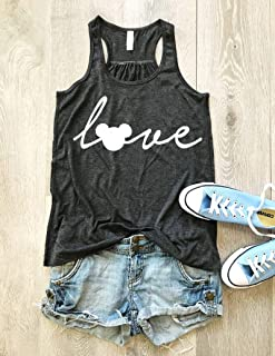 Love Disney. Love Mickey Mouse. Screen Printing With Eco Ink. Women's Eco Flowy Tanks. Women Clothing. Sheering Back Seam.
