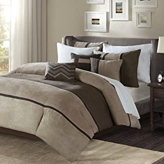 Madison Park Palisades Duvet Cover King/Cal King Size - Brown, Taupe, Pieced Stripe Duvet Cover Set – 6 Piece – Micro Suede Light Weight Bed Comforter Covers
